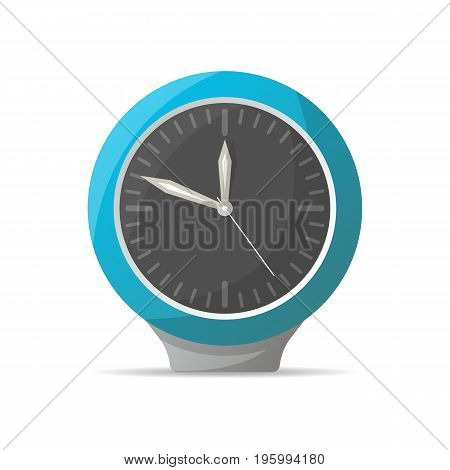 Modern blue analog clock icon. Mechanical time chronometer, alarm clock isolated vector illustration in flat style.