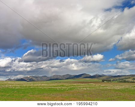 COUNTRY LANDSCAPE, WITH GREEN FIELDS IN THE FORE GROUND AND MOUNTAINS IN THE BACK GROUND AND HUGE DARK, RAIN CLOUDS OVER HEAD