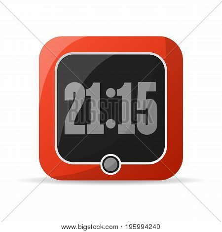 Red digital alarm clock icon. Electronic time chronometer, modern watch isolated vector illustration in flat style.