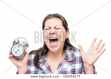Screaming Crazy Woman With An Alarm Clock In Her Hands Was Late For Work