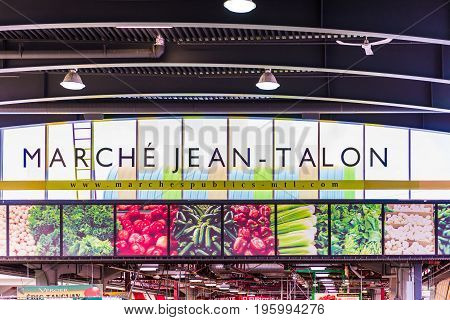 Montreal Canada - May 27 2017: Jean Talon market sign entrance in Little Italy neighborhood in city in Quebec region