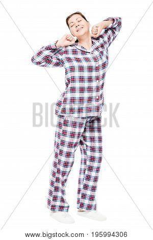 Woken Up Girl In Pajamas Stretching On A White Background, Full Length Portrait