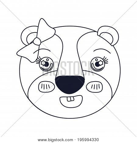 sketch silhouette caricature face of female lioness animal adorable expression vector illustration