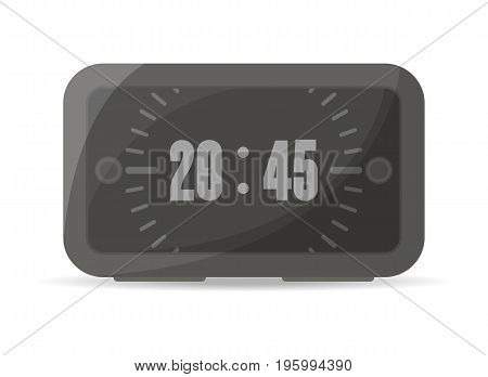 Black digital alarm clock icon. Electronic time chronometer, modern watch isolated vector illustration in flat style.