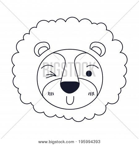 sketch silhouette caricature face of lion wink eye expression with mane vector illustration
