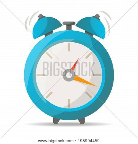 Blue alarm clock with bells icon. Mechanical time chronometer, analog watch isolated vector illustration in flat style.