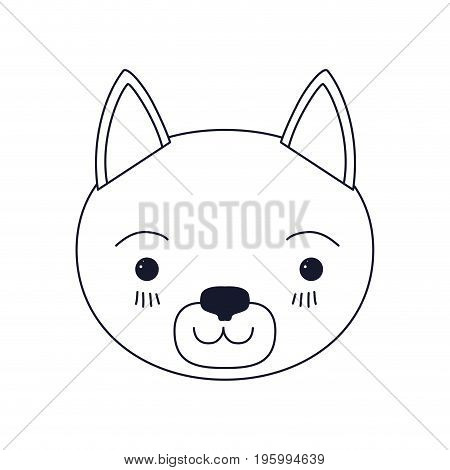 sketch silhouette caricature face of cat tranquility expression vector illustration
