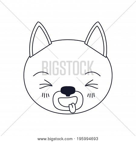 sketch silhouette caricature face of cat sticking out tongue expression vector illustration