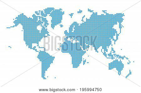 Blue World map dotted style on white background. Vector illustration