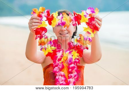 Girl On The Beach Welcomes Guests With Floral Lei Traditional Hawaiian
