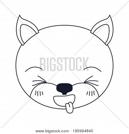 sketch silhouette caricature face of kitten sticking out tongue expression vector illustration