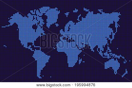 Blue World map dotted style on dark background. Vector illustration