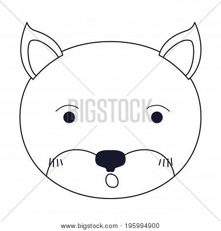 sketch silhouette caricature face of kitten surprised expression vector illustration