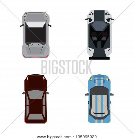 Set of top views of cars, Vector illustration