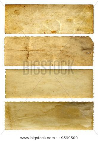 High resolution old paper vintage background isolated on white. It is a group of horizontal banners.
