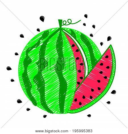 Drawing Watermelon Icon Piece
