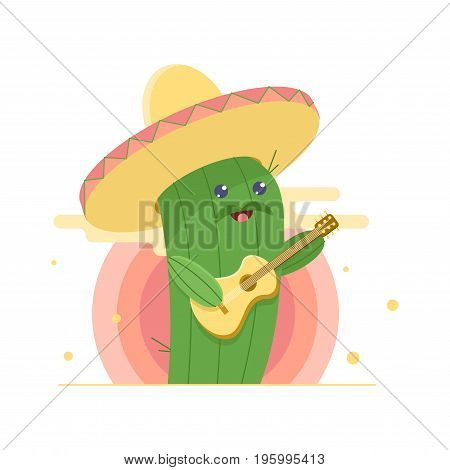 Cute Cactus In Sombrero, Singing Serenade And Playing Guitar. Sun On Background. Flat Cartoon Illust
