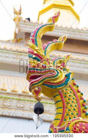 Naga on the roof of Wat Maha Wanaram (Wat Pa Yai)Ubonratchathani ProvinceThailand.