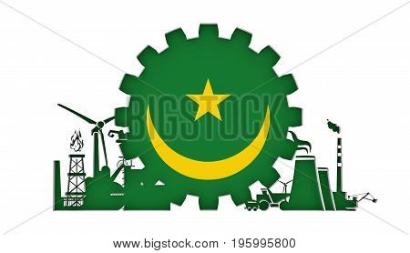 Energy and Power icons set with flag of the Mauritania. Sustainable energy generation and heavy industry. 3D rendering.