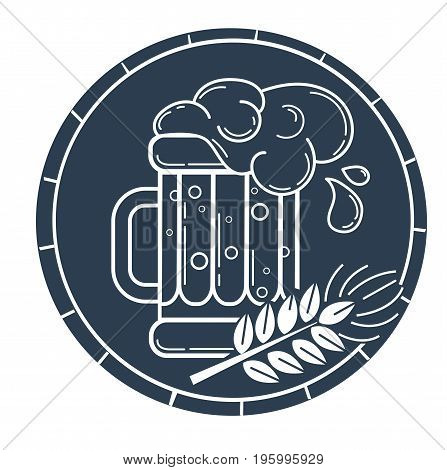 Silhouette Glass Of Beer And Barley