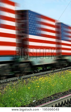 Train Freight transportation. Cargo transit. Summer Day. Container textured by flag of the USA