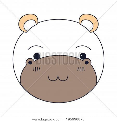 color sections of cute face of hippo happiness expression vector illustration