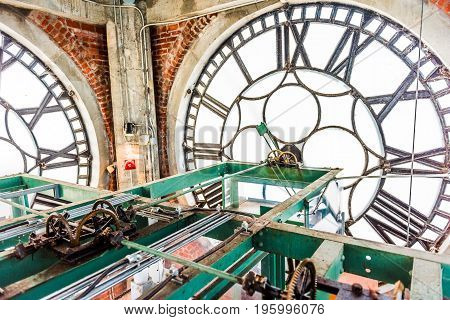 Montreal, Canada - May 27, 2017: Inside Clock Tower In Old Port Area With Closeup Of Time Wheels Lev
