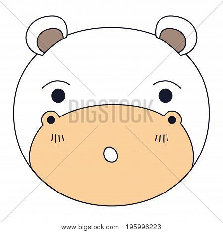 color sections of cute face of hippo surprised expression vector illustration