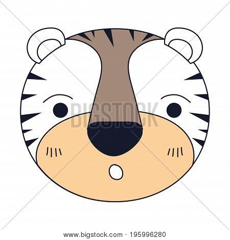 color sections of cute face of tiger surprised expression vector illustration