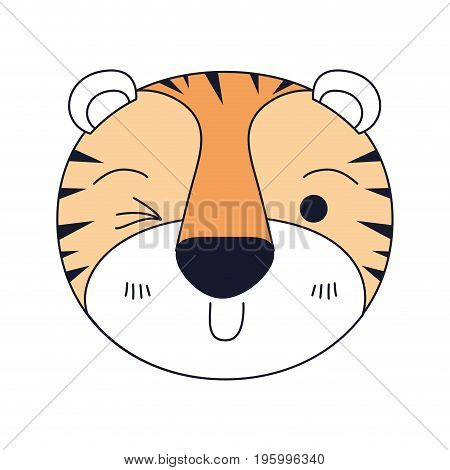 color sections of cute face of tiger wink eye expression vector illustration