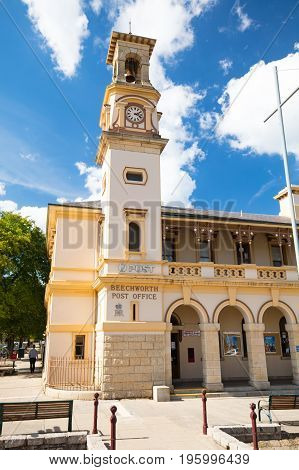 The historic Beechworth Post Office on a warm autumn day in Victoria, Australia