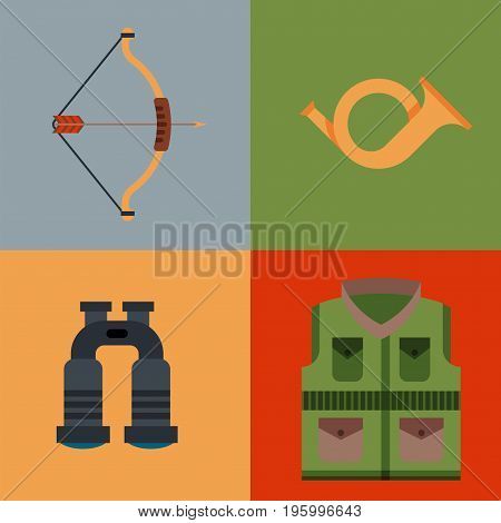Hunting weapons and symbols design elements flat style hunter forest wild animals isolated vector illustration. Aiming camouflage outdoors equipment.