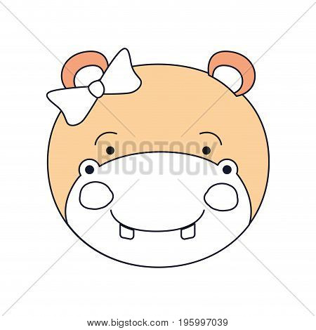 color sections of face female hippo animal happiness expression with bow lace vector illustration