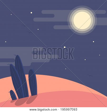Night Desert Landscape With Silhouettes Of Cacti Under The Night Sky Flat Vector Illustration. Backg