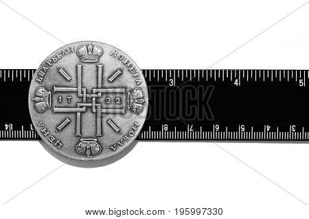 Antikvariat. Antique Iron Coins. Isolated on white background poster