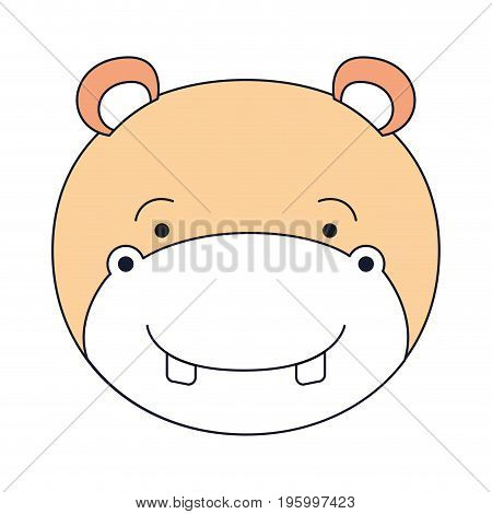 color sections face male hippo animal happiness expression vector illustration