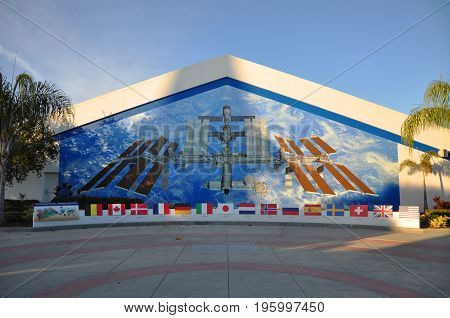 FLORIDA, USA - DEC 20, 2010: International Space Station ISS fresco on the wall of the John F. Kennedy Space Center in Florida, USA.