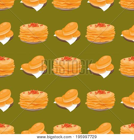 Traditional Russian pancake cuisine seamless pattern dish course food welcome to Russia gourmet national meal vector illustration. Homemade appetizer delicious lunch eating snack background.