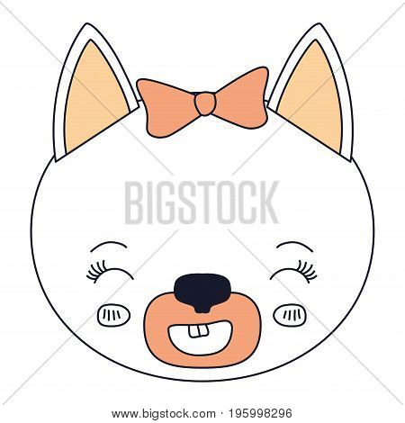 color sections face female cat animal smiling expression vector illustration