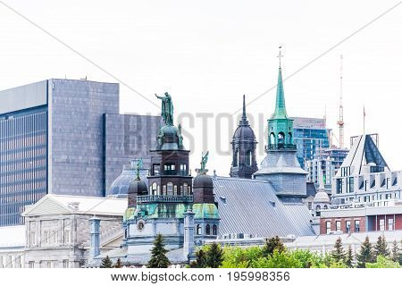 Montreal, Canada - May 27, 2017: Old Port Area With View Of Skyline Or Cityscape And Bonsecours Chap