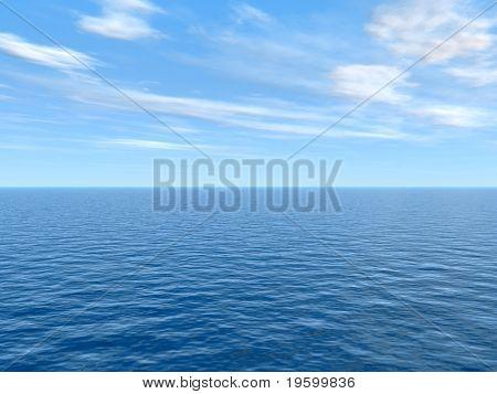 Yüksek çözünürlüklü mavi su ve gökyüzü arka, doğa ve yaz tasarımları için ideal