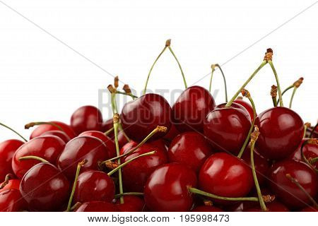 Heap Of Red Sweet Cherry Isolated On White