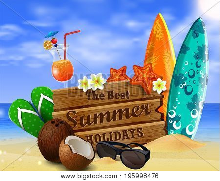 wooden board on tropical background with sunglasses surfing boards and exotic beverage and cocnuts vector