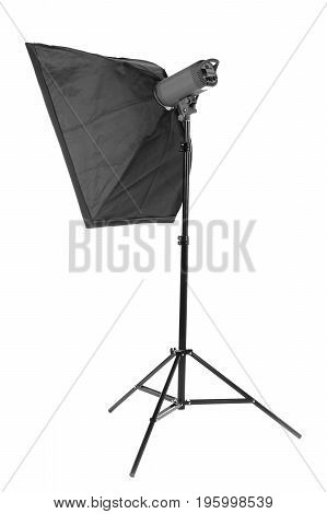 A big black strip softbox for work with photos, isolated on a white background. Studio lighting equipment. High resolution.