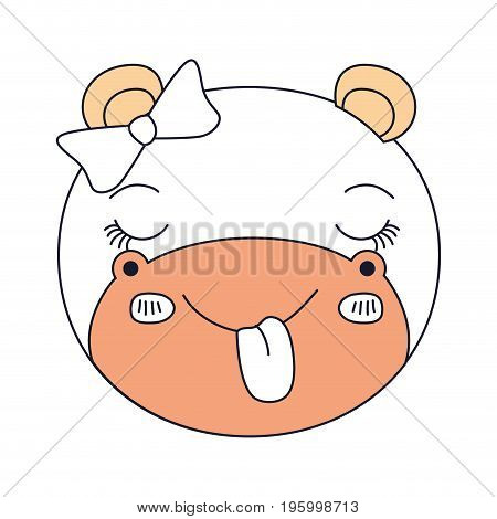 color sections face female hippo animal sticking out tongue expression vector illustration