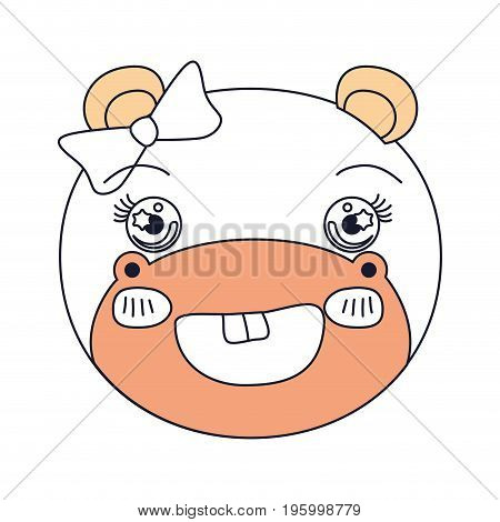 color sections face female hippo animal adorable expression vector illustration