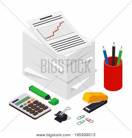 Heap of documents accompanied by pen, pencil and calculator. Isometric vector illustration