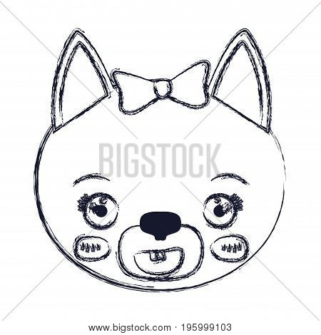 face of female cat animal smiling expression vector illustration