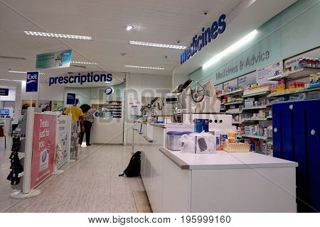 Reading, Uk - June 17Th 2017: Pharmacy And Prescription Dispensing Section In The Boots The Chemist