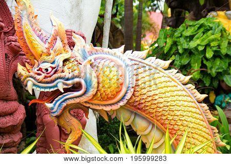 Serpent king or king of naga statue at Wat Tai Phra Chao Yai Ong TueUbonratchathani ProvinceThailand.